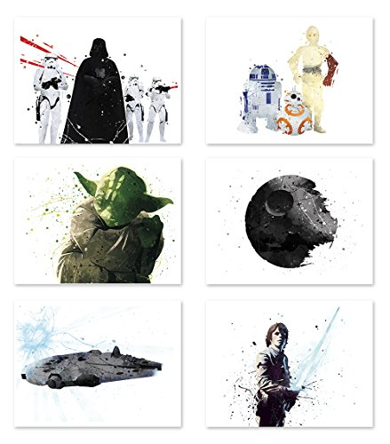 Star Wars Poster Inspired Watercolor Wall Art Jedi Yoda Death Star Prints Decor Paper Set of 6 8x10 P49 by PGbureau