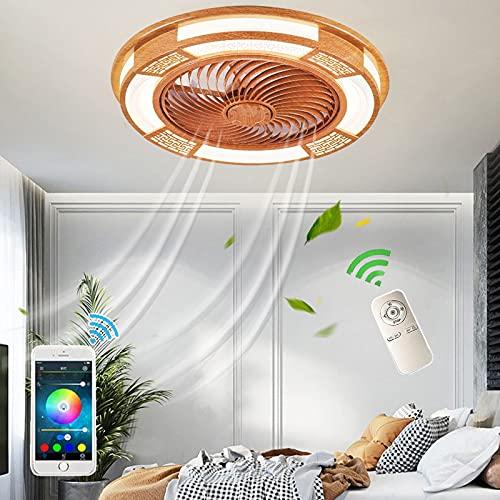 Home Invisible Ventilador Silencioso Luz LED Dimable Salon Comedor Potente Ventiladores De Techo Con Iluminación Y Mando A Distancia Temporización Estilo Chino De Madera Maciza Fan Lámpara Retro