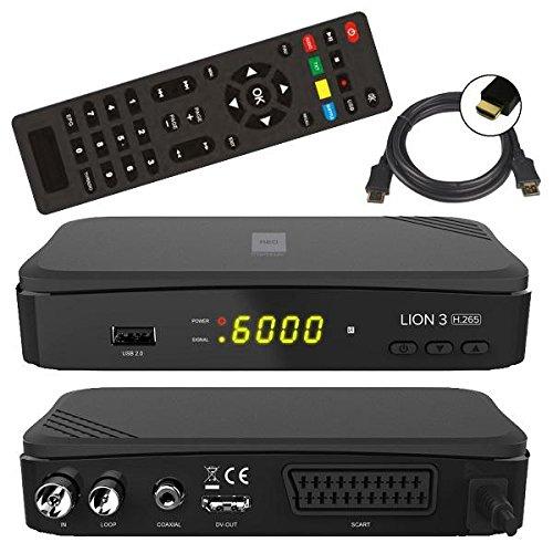 netshop 25 Opticum Lion 3 H.265 FullHD HEVC DVBT/T2 Receiver (HDTV, HDMI, SCART, USB 2.0) + HDMI Kabel