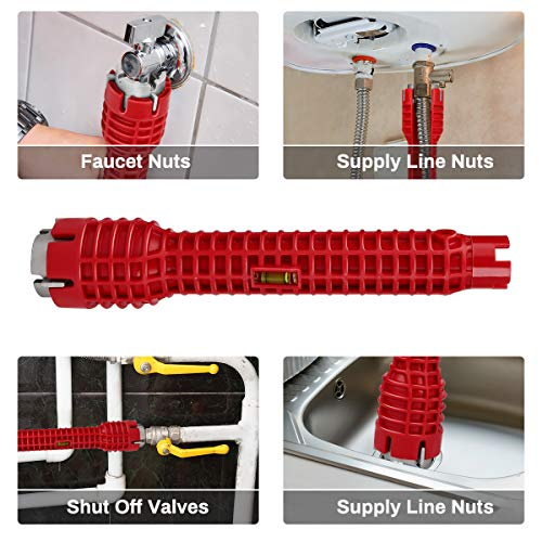 Faucet and Sink Installer Tool, Jhua 8 in 1 Faucet and Sink Installer Multi Tool for Plumbers and Homeowners Multifunctional Faucet Wrench Tool Faucet and Sink Installing Tool for Bathroom Kitchen