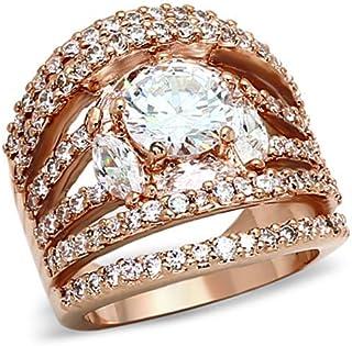 $31 » LOA879 - Brass Ring Rose Gold Women AAA Grade CZ Clear