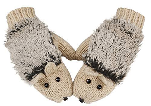 Winter Gloves Mittens Like Lovely Hedgehog For Women,Beige