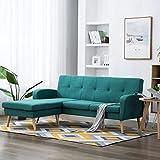 FestnightSofá Cama Chaise Longue con Forma de L Verde 186x136x79 cm Tapizado de Tela