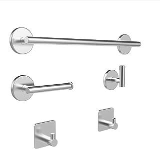 Bathroom Hardware Set-Brushed, SUS304 Stainless Steel Towel Bar Set - Include 16'' Hand Towel Bar, Toilet Paper Holder, 3 ...