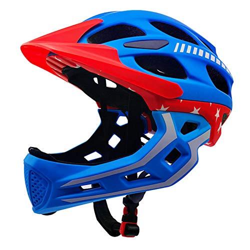Pven Fahrradhelm Integralhelm Kinderhelm Verstellbar mit Abnehmbare Kinnschutz Integriert und Visier Kinder Skaterhelm Schutzhelm für Fahrrad Skateboard Scooter BMX,Blau