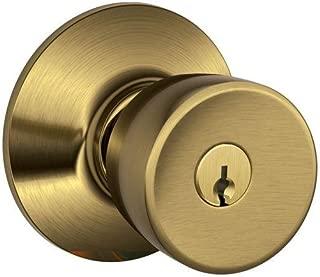 Schlage F51A BEL 609 Bell Knob Keyed Entry Lock, Antique Brass