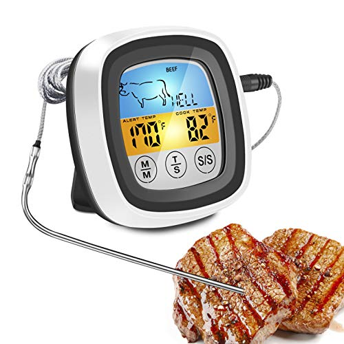 Meat Thermometer  Digital Instant Read Food Thermometer  Grill Smoker BBQ Kitchen Oven Candy Thermometer for Cooking Grilling Smoking with 2 Temperature Probe Touch Screen LCD Display