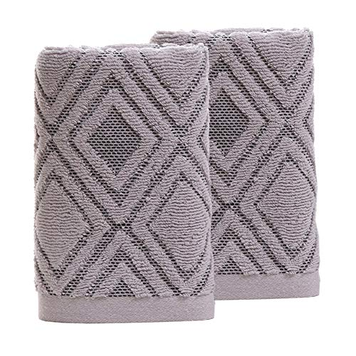 Pidada Hand Towels Set of 2 100% Cotton Diamond Pattern Highly Absorbent Soft Towel for Bathroom 13 x 29.5 Inch (Gray)