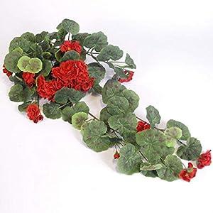 CJJC Pack of 2 Artificial Begonia Flowers Rattan, Handmade Plastic Silk Hanging Garland Fake Flower Vine for Home Wedding Party Decoration