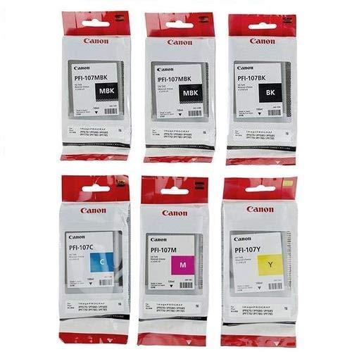 PFI-107 Set Genuine Canon PFI-107 6 Pack 5 Colors Ink Tanks 2 PFI-107MBK,1 PFI-107BK PFI-107C PFI-107Y PFI-107M by Canon in Retail Packaging