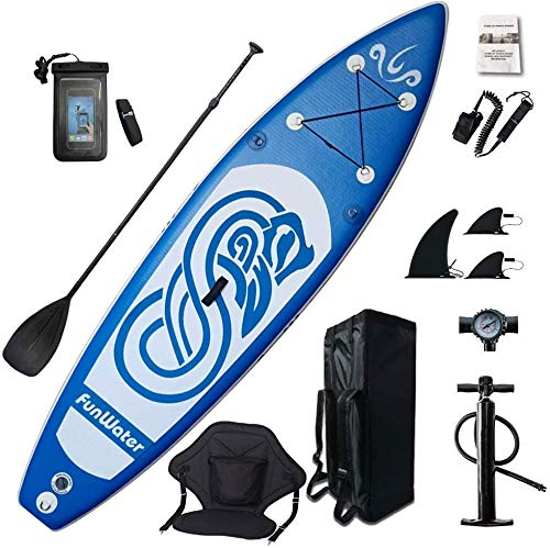 professional FunWater Inflatable Paddle Board 10ft x 31inch x 6inch Ultralight (17.6 lbs) All Inclusive ISUP, Adjustable Paddle, Kayak Seat, Pump, SUP Backpack, Leash, Waterproof Bag, Non-Slip Pads for Teenagers and Adults