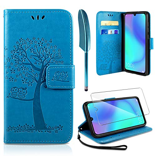 AROYI Huawei P30 Lite Hülle, Handyhülle Huawei P30 Lite Hülle Tasche Leder Flip Eule Baum Wallet Schutzhülle für Huawei P30 Lite Blau