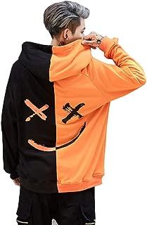 Mens Boys Fashion Hooded Jerseys Long Sleeve Contrast Color Smile Hip-Hop Sweatshirt Hoodies