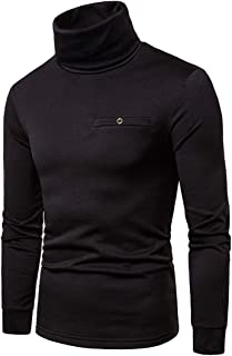 Zytyeu Mens Pullovers Long-Sleeve High Neck Plain-Colored Pullovers Slim Fit Spring and Autumn Comfortable Business Casual...