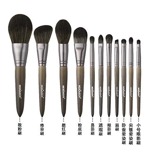 Set De Pinceaux De Maquillage Foundation Foundation Fard À Paupières Brush Tool Wool, 11 Brushes A