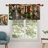 Hiiiman Window Curtain Light Filtering Rod Pocket Valance Entrance to Mediterranean Tuscan House Rustic Wooden Door, Set of 1, 52'x18' for Bedroom, Kitchen Or Bathroom Windows