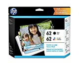 HP 62   2 Ink Cartridges with Assorted Photo Paper   Black, Tri-color   Works with HP ENVY 5500 Series, 5600 Series, 7600 Series, HP OfficeJet 200, 250, 258, 5700 Series, 8040   C2P04AN C2P06AN