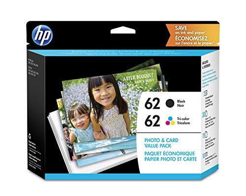 HP 62 | 2 Cartuchos de Tinta con Papel fotográfico Surtido | Negro, Tricolor | C2P04AN C2P06AN