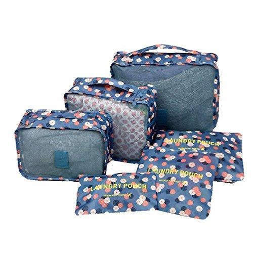 6er Set Viaggio Bagagli Organizzatore Contenitore organizer per borse trolley valigia Borsa organizer Appendiabiti Organizzatori per bagagli, fiori blu