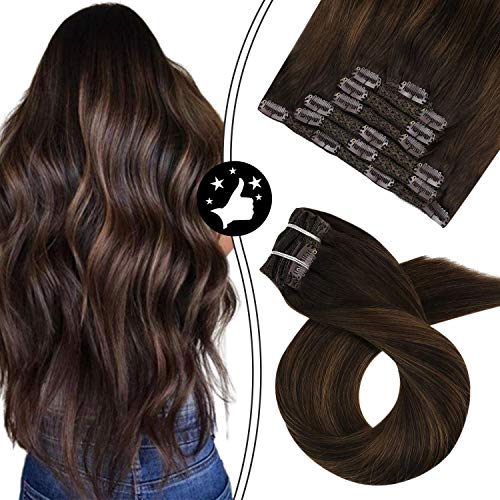 Moresoo 20 Zoll/50cm Balayage Farben Clip in Hair Extensions Human Hair Echthaar Tressen Haarfarbe Ombre Schwarz #2 Darkest Brown to #6 Medium Brown Glatt Remy Echthaar Haarverlängerung 120Gramm