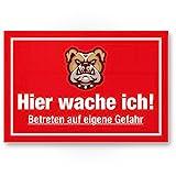 Hier Wache ich (rot) - Hunde Kunststoff Schild thumbnail
