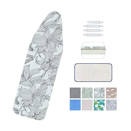 Ironing Board Cover and Pad Standard Size 15quot x 54quotElastic Edges and 4 Adjustable Fasteners Make 3 Layer Padded Ironing Board Cover Surface Smoother1 Large Protective Scorch Mesh ClothGrey