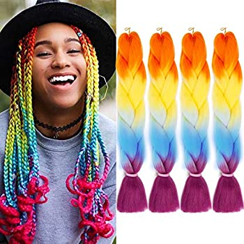 GX Beauty 4Pcs/Lot Kanekalon Braiding Hair Rainbow Jumbo Colored Braid Hair Extensions 24Inch Synthetic Heat Resistant Fiber Box Braids