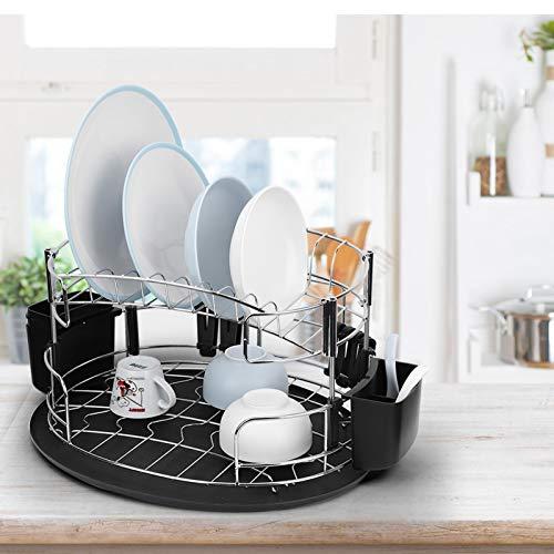 Omabeta Estante de Cocina Estante de Plato de Cena Estante de Cubiertos Mano de Obra estándar Estante de Dos Capas Estante de Drenaje de Doble Capa para Cocina