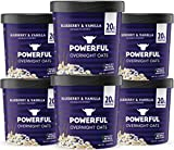 Powerful Overnight Oats Oatmeal Cup, High Protein, Whole Grain, Kosher, Natural Ingredients, 20g Protein, Blueberry and Vanilla, 6 Pack