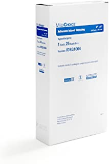 MediChoice Adhesive Island Dressing, Sterile, Hypoallergenic, 4x8 Inch, White, 1314IDSG1004 (Box of 25)