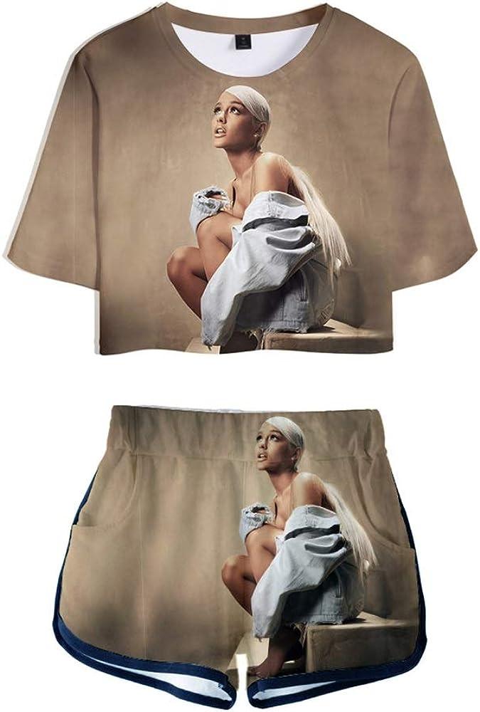 Kurzarm T-Shirt Shorts Damen Zweiteiligen Anzug Sommer Ariana Grande 3D Gedruckter Anzug Kurzes T-Shirt Taschenshorts Mit Elastischem Bund