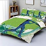 Juego de funda nórdica, jugador de críquet lanzando juego ganador Champion Team Paintbrush Effect Juego de cama decorativo de 3 piezas con 2 fundas de almohada, azul marino, turquesa, verde lima, el m