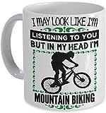 WTOMUG Mountain Biker Coffee Mug - In My Head I'm Mountain Biking! - Mtn Bike Gift Coffee Cup Mug