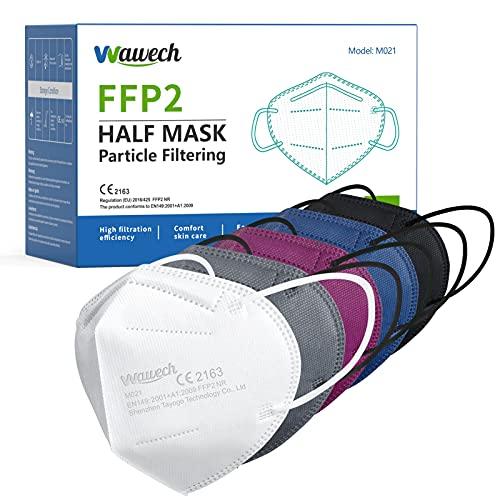 Wawech 50 bunte FFP2 Maske Mund und Nasenschutz CE zertififizierte Einwegmasken,hohe Filteration, bequem, atmungsaktiv