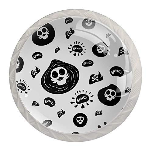 Perillas redondas de gabinete 4 piezas para cajones de aparador, gabinete de cráneos blancos huesos
