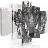 Feeby Frames, Leinwandbild Bilder Wand Bild - 5 Teile - Wandbilder Kunstdruck (Wolf SCHWARZ und WEIß) 100x200 cm, Typ A