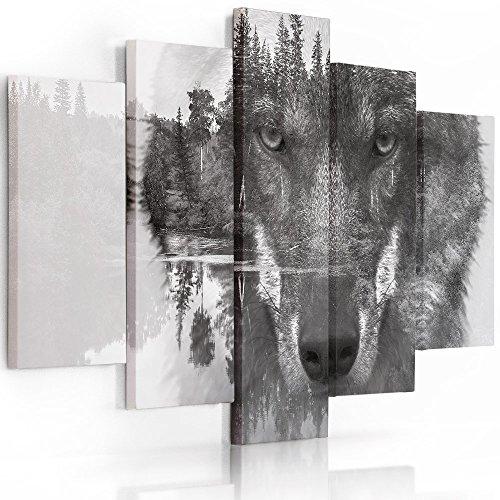 Feeby Frames, Cuadro en lienzo - 5 partes - Cuadro impresión, Cuadro decoración, Canvas (LOBO, BLANCO Y NEGRO) 150x100 cm, Tipo A