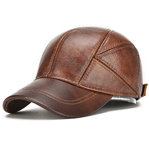 YABINA Flat Cap Genuine Cowhide Leather Vintage Baseball Cap Ivy Driving Cap (Brown)