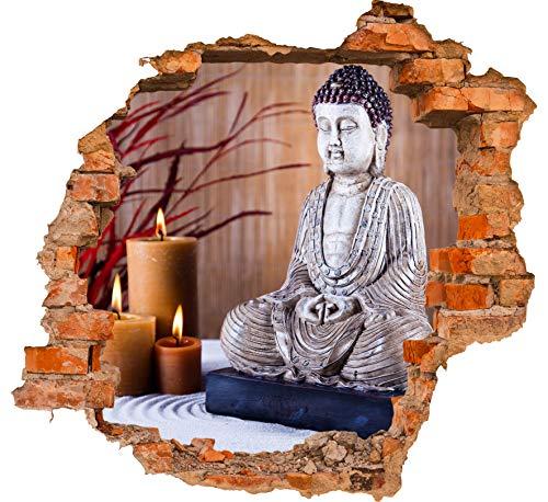 wandmotiv24 3D-Wandsticker Buddha-Statue und aromatische Kerzen Design 02 - mittel Aufkleber Mauerdurchbruch M0969