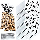 Blulu Pet Paw Print Cone Cellophane Bags Heat Sealable Treat Candy Bags Dog Gift Bags Cat Treat Bags with 200 Pieces Silver Twist Ties for Pet Treat Party Favor (150 Pieces)