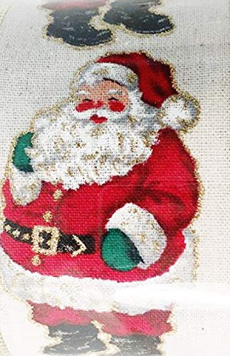 Christmas Ribbon Traditional Santa Claus on Natural Ivory Background 2.5''x 30' Wire Edge