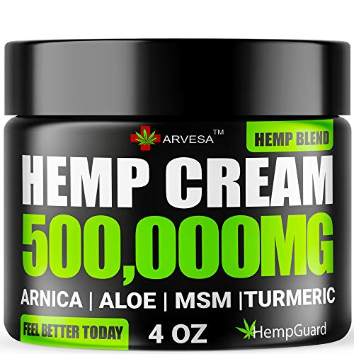 Hemp Pain Relief Cream - 500,000 MG - Made in USA - 4OZ - Relieves Muscle, Joint Pain - Lower Back Pain - Inflammation - Hemp Oil Extract with MSM - EMU Oil - Arnica - Turmeric