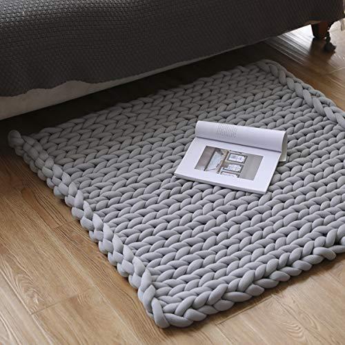 Manta gruesa de punto acogedora de 80 x 100 cm de lana merino tejida a mano, manta de sofá muy gruesa de lana tejida a mano, decoración del hogar (gris claro)