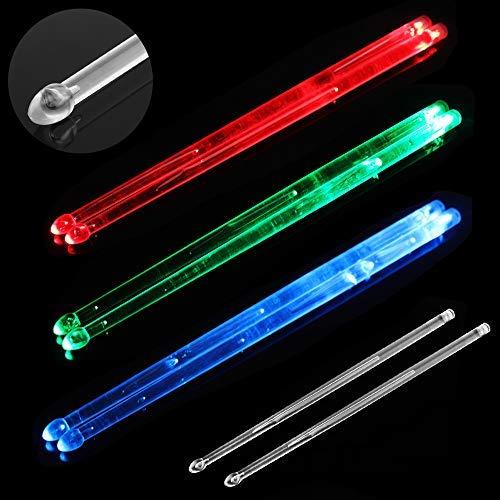 Origlam - Baquetas con luz LED brillante, 5 A, brillan en la noche, para jóvenes y viejos (azul)