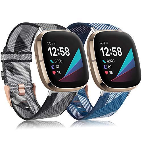 Tobheo Correa Compatible para Fitbit Versa 3/Sense Correa Tejida Mujer Hombre, Pulsera Ligera de Tela Nailon Ajustable Deportivo Bande de Reemplazo Compatible para Fitbit Sense