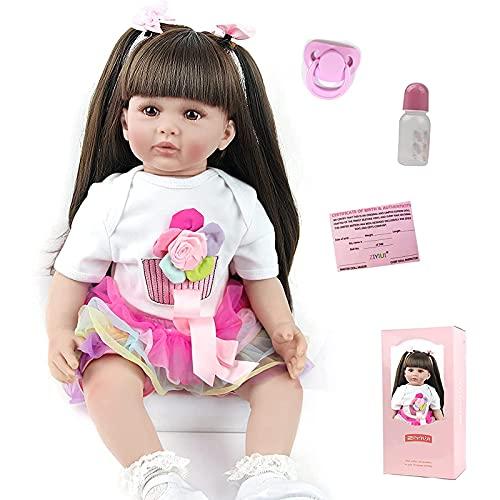ZIYIUI 24 Pulgadas 60 cm Reborn Baby Doll Girl Vinilo de Silicona Suave Vida Real Hecho a Mano de Cuerpo Completo Muñeca de Pelo Largo Realista cumpleaños Juguetes Muñecos Bebé
