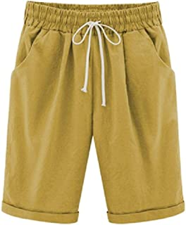 neveraway Womens Regular Mini Waistband Stretchy Beach Loose Midi Shorts