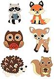 Natural Wood Painted Woodland Creatures Cutouts - Set of 6