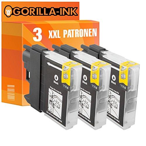 Gorilla de Ink 3cartuchos de tinta XXL compatible para Brother LC985MFC-J de 220DCP J 515W Black