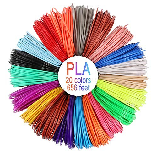 Luchild 3D Pluma filamento 20 Colores 10m PLA Materiales de Impresión 3D para la 3D Pluma 1.75mm PLA